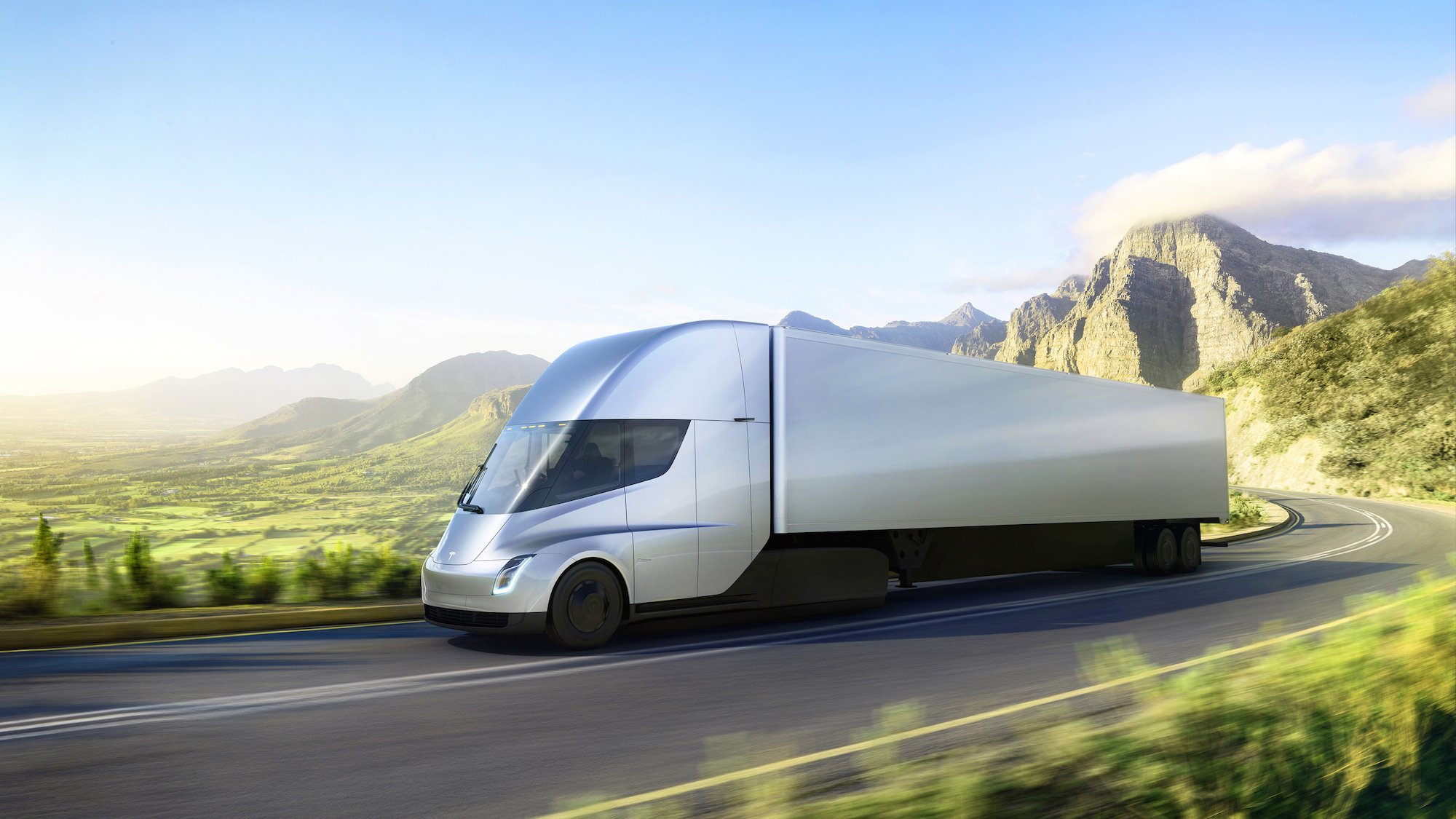 Tesla unveils electric tractor-trailer