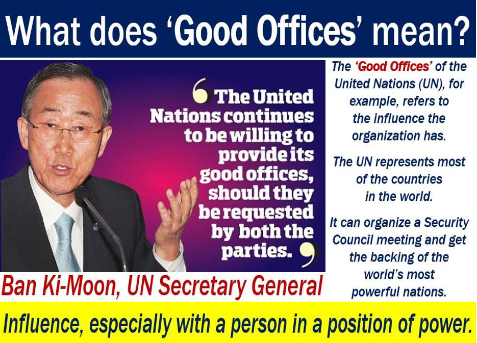 Good Offices - definition and an example with the United Nations